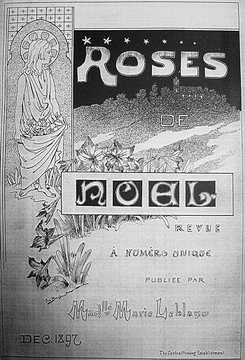 Couverture de Roses de Noël, décembre 1897 « Revue à numéro unique publiée par Mademoiselle Marie Leblanc »