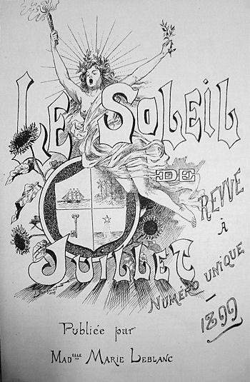couverture, Le Soleil de Juillet, numéro unique 1899 Publiée par Mademoiselle Marie Leblanc