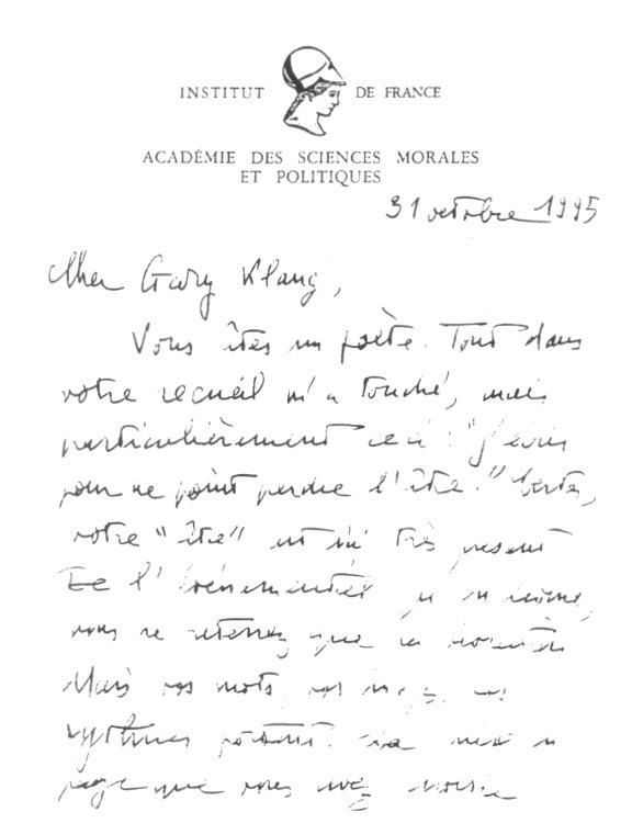 Lettre de René Pomeau à Gary Klang 1
