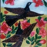 Oiseaux noirs et fleurs rouges de Pierre Joseph-Valcin (1984). Collection de Michel Monnin, photo de Bill Bollendorf.