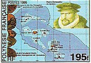 Le timbre commémoratif émis en 1995 par l'OPT de Polynésie française
