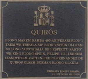 Détail de la plaque commémorative du monument à Quirós, en bichlamar. (photo Annie Baert)