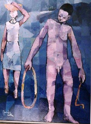 La vie est un cercle de Manès Descollines (1978). 48x32, huile sur toile. Collection Michel Monnin, photo Bill Bollendorf.
