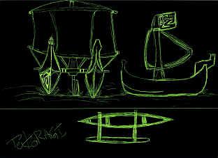 Dessin © 2005 Michel Tokoragi Pirogue double à voile de face et de profil et, en bas, une pirogue de pêche lagonnaire