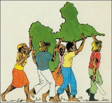 Illustration pour le recueil de Cette igname brisée qu'est ma terre natale / Gran parad ti kou baton paru aux Éditions Caribéennes. © 1982, utilisée avec permission